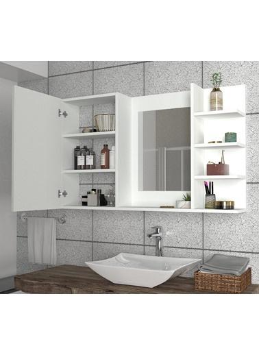 Dekorister Dekorister Cali Aynalı Banyo Üst Dolabı Beyaz